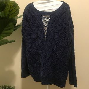 Express Shoelace V Neck Blue Pullover Sweater